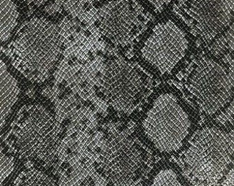 "54"" Wide Faux Python Snake Skin Leather Silver Fabric By The yard"