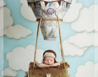 REVERSIBLE Hot Air Balloon Photography Prop, Baby,  Decor, Travel Theme, Fly, Soar, Clouds, Birdseyeblue, Birdseye Blue, Toy box, Nursery