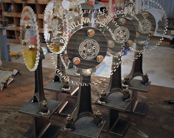 Industrial Mechanical Custom Trophies; made with car parts & I-beam