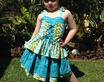 Handmade Girls Corset Top And Skirt Set. Size 3 4 or 6.