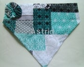 Monogram Dog Bandana Quilted Pattern black blue gray teal Over the Collar Bandana with YO YO