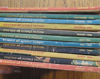 Science Fiction The Magazine of Fantasy Qty of 11 Paperback Books 1968