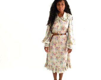 boho floral poet dress . late 60s ruffled dress . tea length, wide collar dress . long shift dress, 1970s vintage day dress, womens large xl