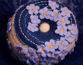 CUSTOM Blue flowers Pincushion