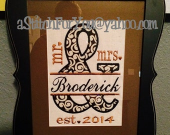 mr & AMPERSAND mrs - Split with Line Design perfect for Valenine or Wedding Gift - INSTANT Download Machine Embroidery Design by Carrie