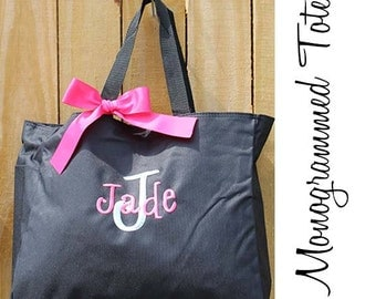 10 Personalized Bridesmaid Tote Bags, Embroidered Tote, Monogrammed Tote, Bridal Party Gift