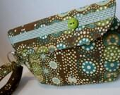Brown Geometric Fabric Wristlet, Fabric Wristlet, IPhone Wristlet, Zippered Wristlet, Cell Phone Wristlet, Emma Bag