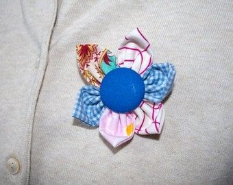Blue, Pink and White Fabric Flower Brooch, Flower Pin - Handmade Fabric Flower