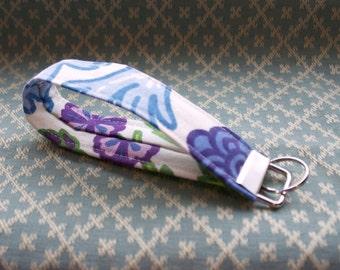 Preppy Floral Fabric Key Chain, Wristloop Keychain, Wristlet Key Chain