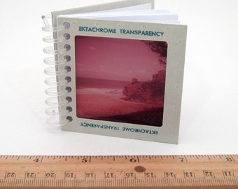 6 Mini Notebooks - Large Format Vintage Photo Slides - Tiny Journals - Recycled Spiral Notebook - Party Favor - Bulk lot