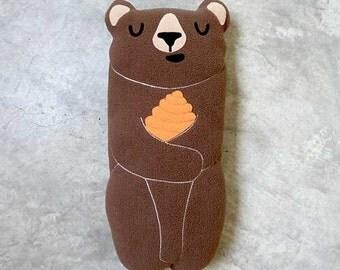 Brown Bear Plush Toy, Bear Soft Toy, Huggable Brown Bear, Bear Cushion, Bear Pillow, Bear Decor, Honey Bear, Baby Crib Toy, Brown Honey Bear