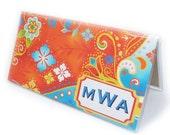 Personalized checkbook cover - Swirly Summer Doodles - custom monogram - orange, blue, gold - summer brights
