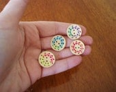 Stitched Circle Wood Buttons - wood with stitched design in various colors, 25mm, light, great for knitwear