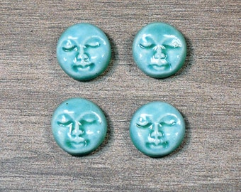 Set of Four Small Round Ceramic Face Stone Cabochons in Seafoam