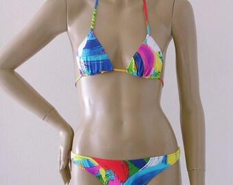 Thong Bikini Bottom and Triangle Top in Brushstroke Print  in Bra Sizes to DD