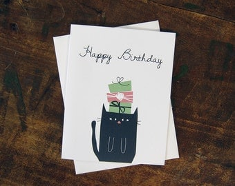 Funny Birthday Card - Black Cat Under Birthday Gifts