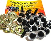 25 Pair of 15mm Premium clear craft animal eyes with metal washers