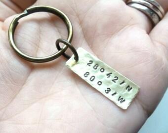 CUSTOM Hand Stamped Brass Coordinates Keychain