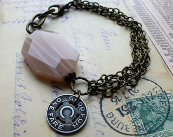 Repurposed Transit Token and Pink Moonstone Bracelet. Antiqued Brass Chain. Upcycled Eco Chic Jewelry. Rustic Romantic