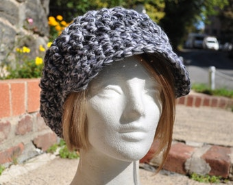 Black & White Slouchy Newsboy Hat crocheted in 50/50 Wool/Acrylic Blend
