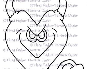 Digital Stamp Devil heart digi TDozier