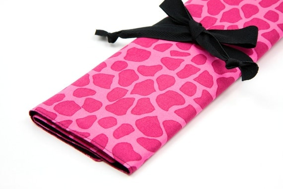 Knitting Needle Case - Pink Giraffe IN STOCK with 30 black pockets for straights, circular, double pointed or paint brushes