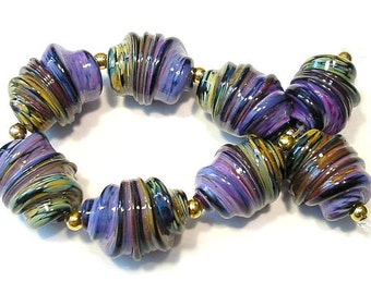 Handmade Glass Lampwork Beads, Purple Rose Raku Whirled Rakuli Focals