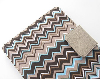 Kindle Fire Cover Nook Simple Touch Cover iPad Mini Cover Kobo Cover Case Brown and Blue Chevron Zig Zag eReader