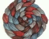 Handpainted Yak/Silk Roving - 4 oz. AMERICAN DINER - Spinning Fiber