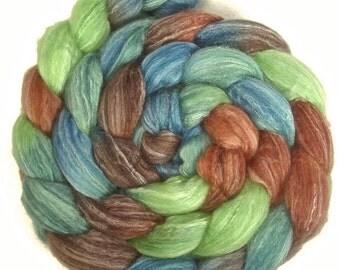 Handpainted Merino Bamboo Silk Roving - 4 oz. MALLARD - Spinning Fiber