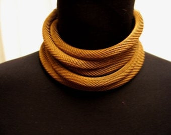 Oxidized Knitted Brass Chain Five Strand Choker