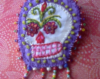 Hand Stitched, Bead Embellished, Colorful, Day of the Dead, Sugar Skull Brooch