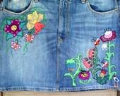 RESERVED LISTING ------------Hand Embroidered Upcycled  Denim Skirt
