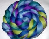 Merino spinning fiber, felting wool, wet/needle/nuno felting fiber, dolls hair, dreads, dread wool, lime, teal, purple, rainbow, 100g/3.5oz