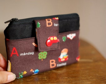 Zippered Pouch | Fabric Wallet | Vegan Wallet | ABC Pouch | Danish Pouch | Coin purse