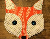 Crinkle Fox -Feathers and Gold Polka Dots