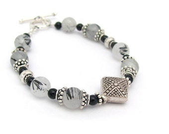 Stone Bracelet Tourmalated Quartz Black Onyx Sterling Silver Bracelet Tourmalinated Quartz Bracelet