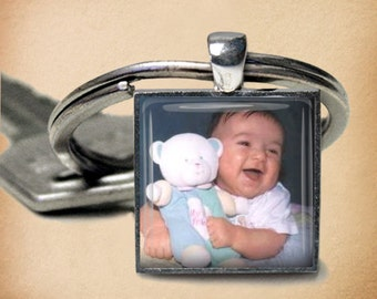 Custom Photo Key Chain - 1 Inch Square - Customized Key Chain - Personalized - Choice of Silver, Bronze, Copper or Black