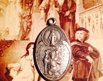 Old ST. CHRISTOPHER MEDAL & Virgin Mary Vintage Sterling