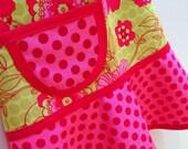 Kids Apron, Girls Apron, Child Children's Kids Toddler  - Cooking Craft Apron - PETUNIA  FLORAL & DOTS
