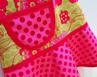 Kids Apron, Girls Apron, Child Children's Kids Toddler  - Cooking Craft Apron - PETUNIA  FLORAL & DOTS