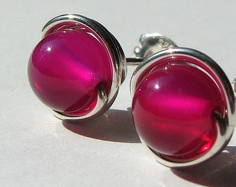 Fuchsia Studs 6mm Pink Agate Studs Post Earrings in Sterling Silver Stud Earrings