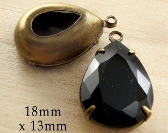 Black Glass Beads, Brass Settings, 18mm x 13mm, Teardrop or Pear, Rhinestone Jewels, Cabochon, Glass Jewels, Glass Gems, One Pair