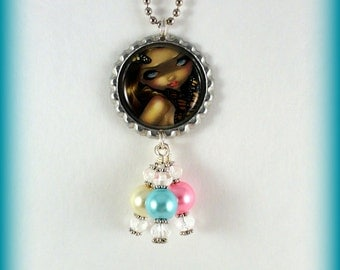 "Jasmine Becket-Griffith "" Nymph with Monarchs ""  necklace"