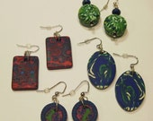 FINAL CLEARANCE - Lot of 4 Pairs of.Handmade Polymer Clay Earrings