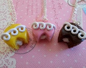 Best Friend Sweet Cupcake Necklaces, 3 way bestie Polymer Clay Food Necklace