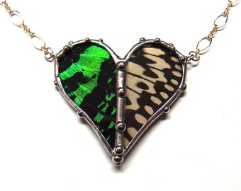 Heart Jewelry - Real Butterfly and Moth Heart Necklace - Green Sunset Moth and Black and White Idea Butterfly