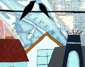 Swan Island - 11x14 Archival Map Print of two birds on a wire above some pretty old houses with a portland map background