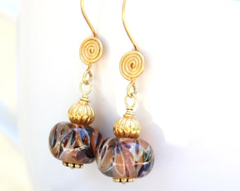 Gold Lampwork Earrings - 24 K Gold Vermeil - Tan & Brown