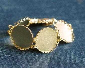 Round Bubble Lace Edge Statement Bracelet Setting - Tarnish Resistant 22k Gold Plated - 1pc